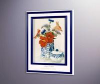 Настурции и синие цветы