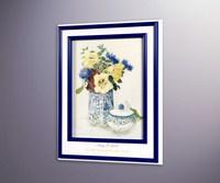 Жёлтые настурции и синии цветы