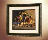 Натюрморт с корзиной фруктов и бокалом вина